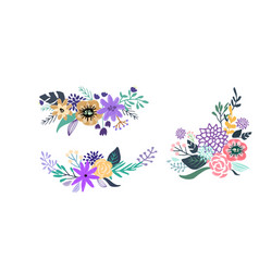 set of floral bouquet isolated on white background vector image