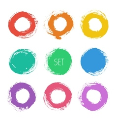 Set of round grunge frames Hand drawn design vector image