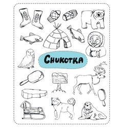 set of tourist attractions Chukotka vector image