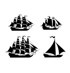 ships set with separate editable elements vector image