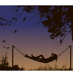 Silhouette of lady lying in a hammock vector