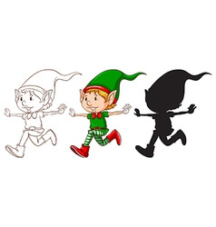 Sketches of an elf vector image