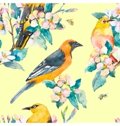 Spring pattern Flowering branch Oriole and White vector image