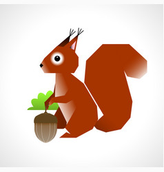 Squirrel with an acorn vector