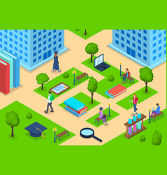 Students in university campus building concept 3d vector