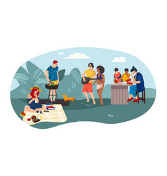 summer people bbq cartoon parents and children vector image