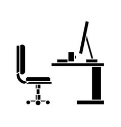 Table office desk with computer sideview ico vector
