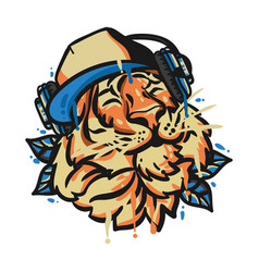 tiger head with headphone vector image