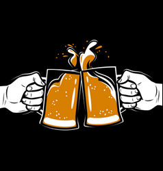 toasting with beer alcoholic drink brewing vector image