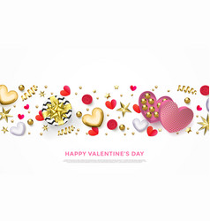 valentines day greeting card heart gift box vector image