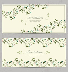 vintage floral invitation cards for your design vector image