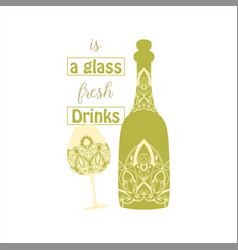 Vintage green olive design for bottle and glass vector