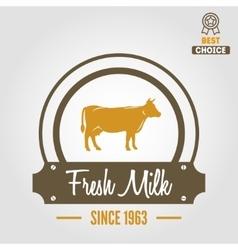 Vintage label logo emblem template of milk on vector