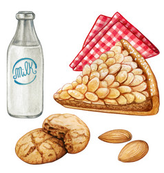 Watercolor almond cake and amaretti cookies with vector