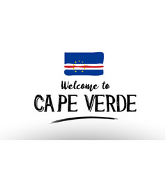 welcome to cape verde country flag logo card vector image