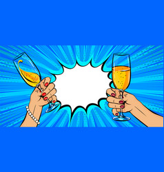 white woman hand hold glass champagne in pop vector image