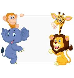 Wild animal cartoon with blank sign vector image