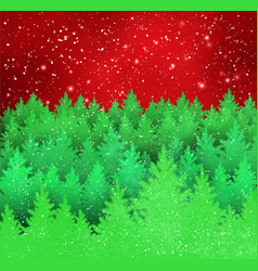 winter landscape red and green background vector image