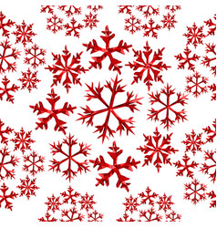Winter snowflake red low poly seamless pattern vector
