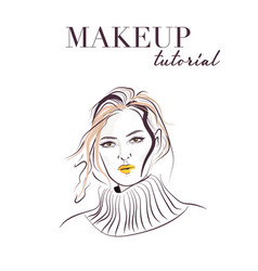 woman face hand drawn makeup model face sketch vector image