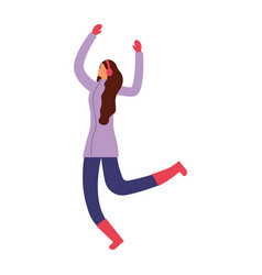 woman jumping with winter clothes vector image