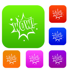 Wow explosion effect set color collection vector