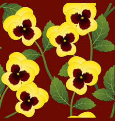 Yellow pansy flower on red background vector