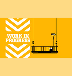 Yellow warning sign work in progress background vector