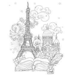 Zen art stylized Eiffel tower doodle vector