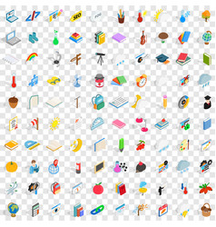 100 calendar icons set isometric 3d style vector image