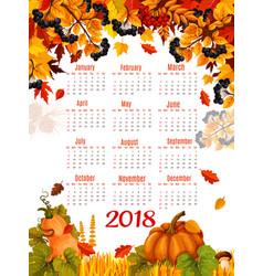 autumn 2018 calendar template falling leaf vector image vector image