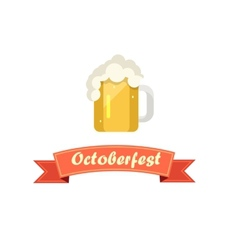 Pint of Beer on Octoberfest with Ribbon vector image