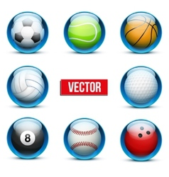 Set of Glass icons sports themes for website or vector image vector image