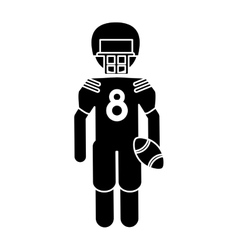 Silhouette american football player with helmet vector