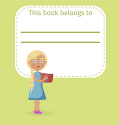 blonde girl holds book and place for owner name vector image vector image