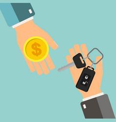 Car rental or sale concept hand holding car key vector