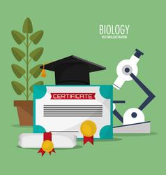 collection biology school equipment vector image