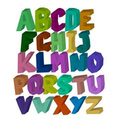 multi-colored square three-dimensional alphabet on vector image