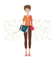 pretty girl standing with her favorite book on vector image vector image