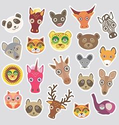 Sticker set of funny animals muzzle vector image