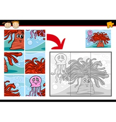 cartoon sea life jigsaw puzzle game vector image