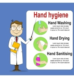 Cute cartoon doctor telling about hand washing vector image