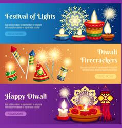 diwali horizontal banners vector image vector image