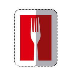 red fork cutlery icon vector image