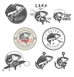 Set of vintage carp fishing design elements vector image