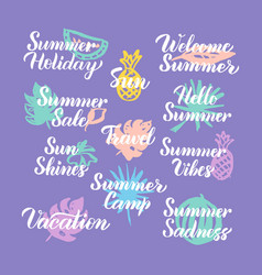 summer travel time hand drawn quotes vector image