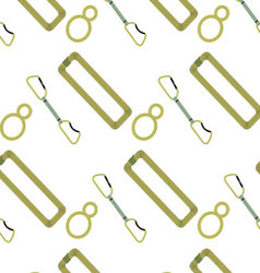 Climbing pattern belay device rope and quickdraw vector image