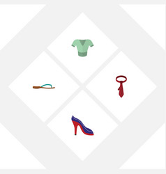flat clothes set of heeled shoe casual beach vector image
