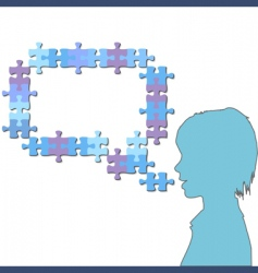 girl talks in jigsaw vector image