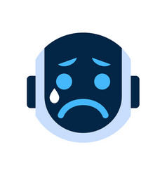 robot face icon sad face crying emotion robotic vector image